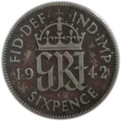 6 Peniques de 1942