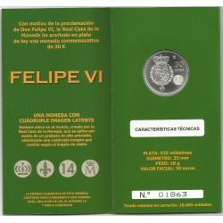 Cartera Oficial Don Felipe VI Plata de ley 30€.