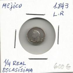 Moneda México 1/4 real 1843 L.R