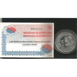 Moneda 1000 Ptas Don Antonio Cánovas del Castillo Plata
