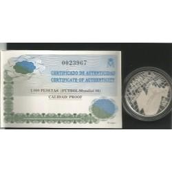 Moneda 1000 Ptas año 1998 Mundial Fútbol