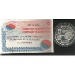 Moneda 1000 Ptas año 2000 Juegos Paraolimplicos Silla de Ruedas