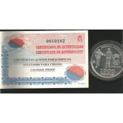 Moneda 1000 Ptas año 2000 Juegos Paraolimpicos Invidente