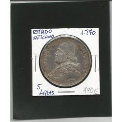Estado Vaticano,5 Liras,1870