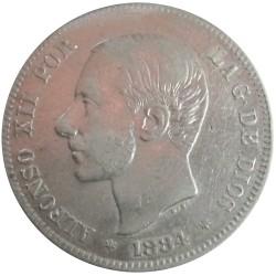 2 pesetas de 1884