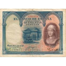 500 Pesetas del 24 de Julio de 1927