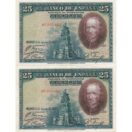 2 Billetes Correlativos de 25 Pesetas del 15 de Agosto de 1928