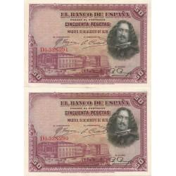 2 Billetes Correlativos de 50 Pesetas del 15 de Agosto de 1928