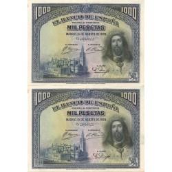 2 Billetes Correlativos de 1000 Pesetas del 15 de Agosto de 1928